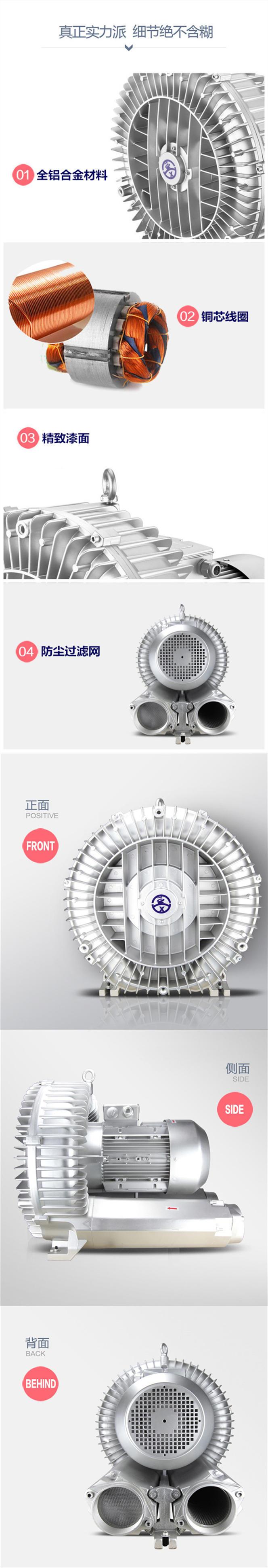 高压风机漩涡风机漩涡气泵真空泵 工业高压鼓风机增氧大功率风机示例图6