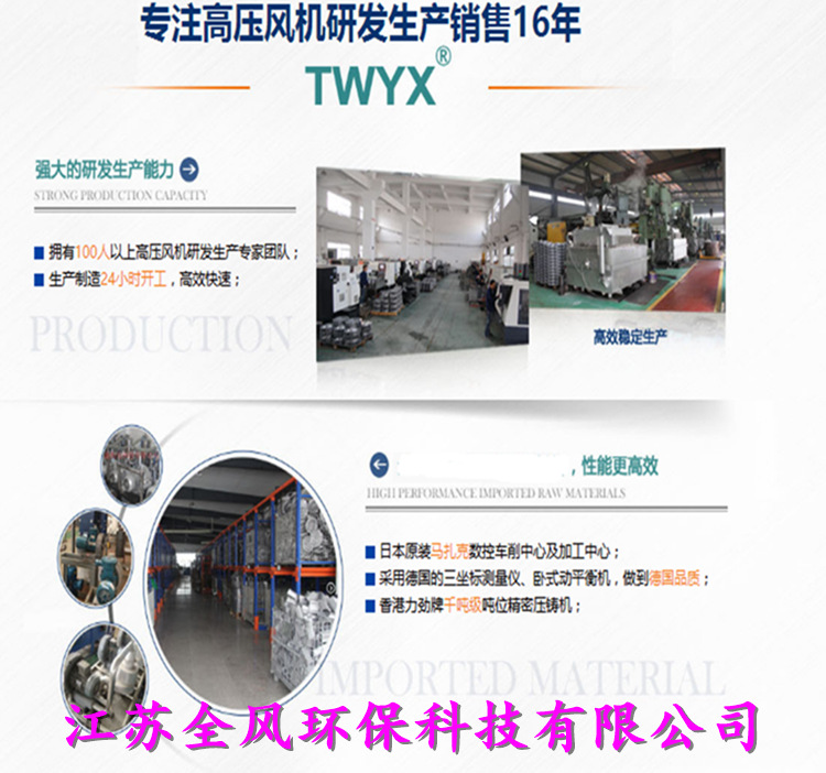 HTB125-1005 7.5KW全风透浦多段式工业中压鼓风机示例图7