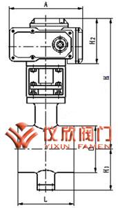电动V型球阀外型尺寸(对夹式)