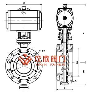 D643H气动弹性金属密封蝶阀